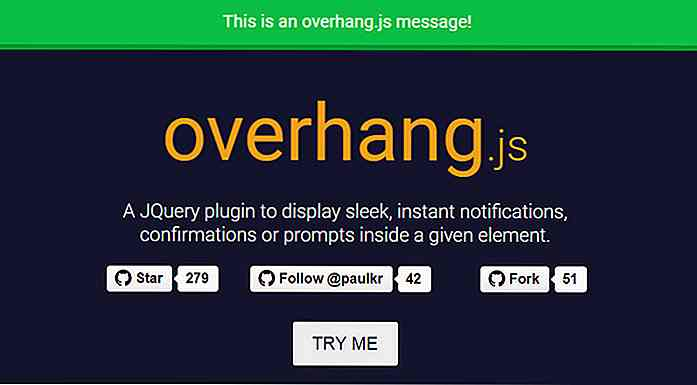 Overhang.js - Un plugin jQuery pour les messages de notification Dropdown