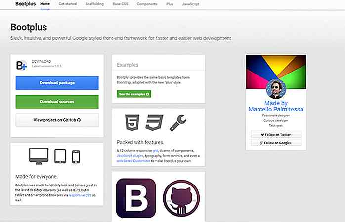 Crea layout di bootstrap in stile Google con Bootplus Framework