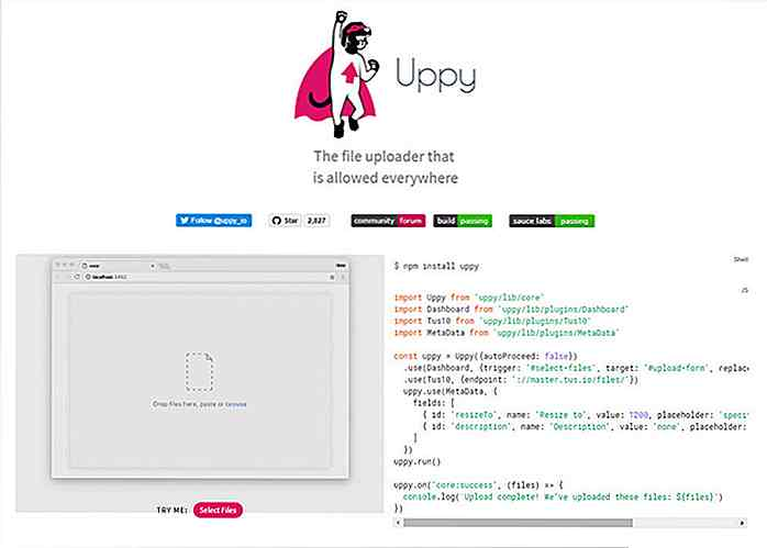 Uppy - Plug-in gratuito per caricamento file JavaScript ES5 / ES6