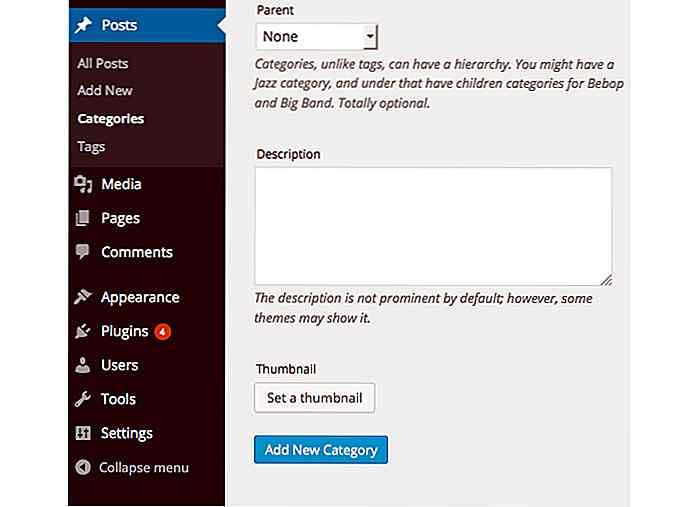 Come aggiungere miniature alle categorie e tag di WordPress