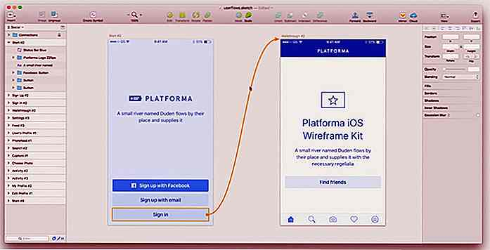 Maak stroomschema's in Sketch met User Flows plugin