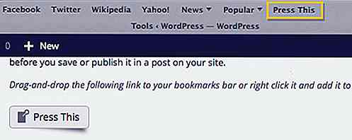 "Reblog il contenuto da altri siti usando ""Press This"" Bookmarklet"